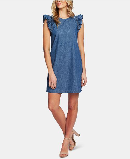 CeCe Cotton Flutter-Sleeve Denim Dress
