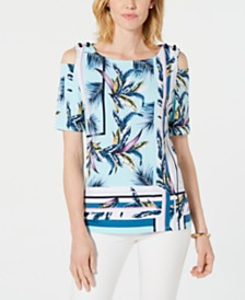 JM Collection Cold-Shoulder Grommet Top, Created for Macys