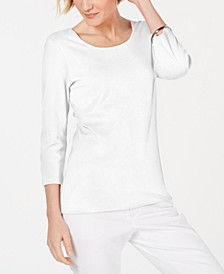 Petite Cotton Scoop-Neck Top, Created for Macy's
