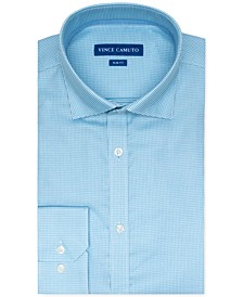 Men's Slim-Fit Stretch Turquoise Dobby Dress Shirt