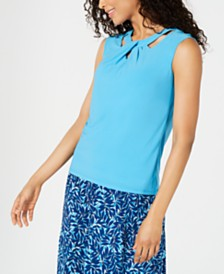 Kasper Crisscross-Neck Top