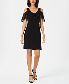 Petite Cold-Shoulder Ruffled Dress
