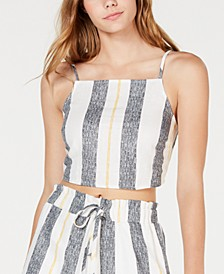 Juniors' Striped Cropped Tank Top