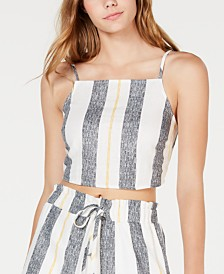 Gypsies & Moondust Juniors' Striped Cropped Tank Top