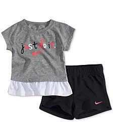 Nike Baby Girls 2-Pc. Logo-Print Peplum Top & Shorts Set