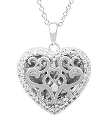 Mary White Topaz (1/5 ct. t.w.) Heart Shape Photo Locket Necklace in Sterling Silver