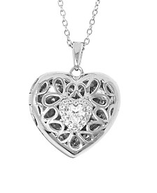 With You Lockets Katharine White Topaz (1/2 ct. t.w.) Heart Photo Locket Necklace in Sterling Silver