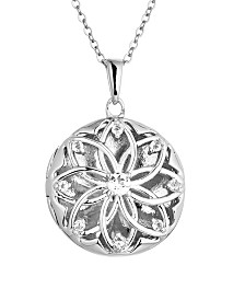 With You Lockets Helen White Topaz (3/8 ct. t.w) Photo Locket Necklace in Sterling Silver