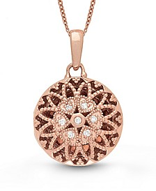Laney Diamond (1 ct. t.w.) Round Photo Locket Necklace in Rose Gold over Sterling Silver