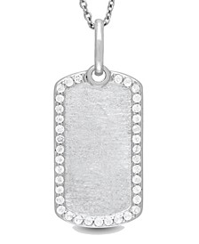 Meagan White Topaz (5/8 ct. t.w.) Dog Tag Photo Necklace in Sterling Silver