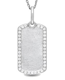 With You Lockets Meagan White Topaz (5/8 ct. t.w.) Dog Tag Photo Necklace in Sterling Silver