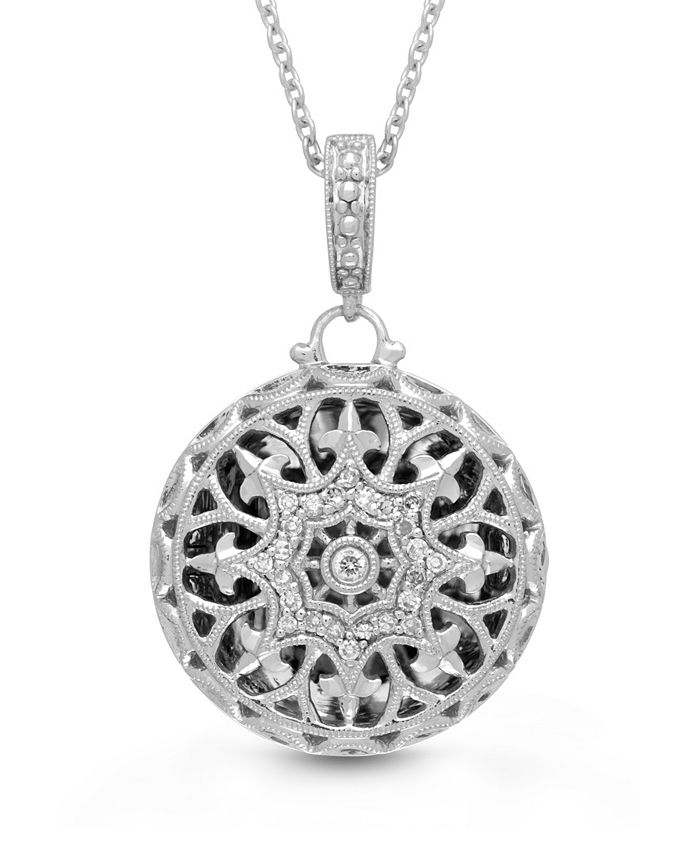 With You Lockets - Photo Locket Necklace with Diamond Accent in Sterling Silver