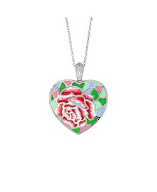 Sonia Enamel and White Topaz (1/20 ct. t.w.) Photo Heart Locket Necklace in Sterling Silver