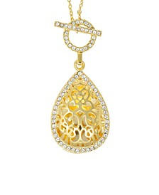 Bella Tear Drop Toggle Locket Necklace with Swarovski Crystals in 14k Yellow Gold over Sterling Silver (Also Available in 14k Rose Gold over Sterling Silver)