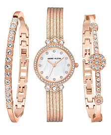 Anne Klein Genuine Mother of Pearl Dial with Swarovski Crystals and Pearling Watch