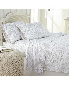 Southshore Fine Linens Winter Brush Floral Printed 4 Piece Sheet Set, Twin