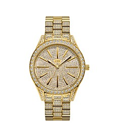 Women's Cristal Diamond (1/8 ct.t.w.) 18k Gold Plated Stainless Steel Watch