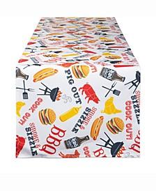 "BBQ Fun Print Outdoor Table Runner 14"" X 72"""