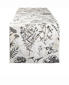 """Botanical Print Table Runner 14"""" X 72"""""""""""