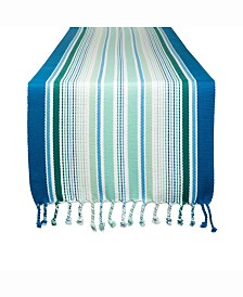 "Tidal Stripe Fringed Table Runner 13"" X 72"""