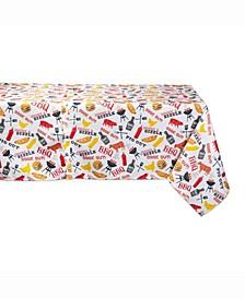 "BBQ Fun Print Outdoor Table cloth 60"" X 84"""