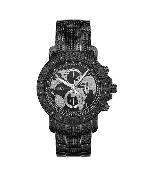 Jbw Men's Veyron Diamond (1/5 ct.t.w.) Black Ion-Plated Stainless Steel Watch