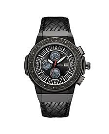 Men's Saxon Diamond (1/6 ct.t.w.) Black Ion-Plated Stainless Steel Watch
