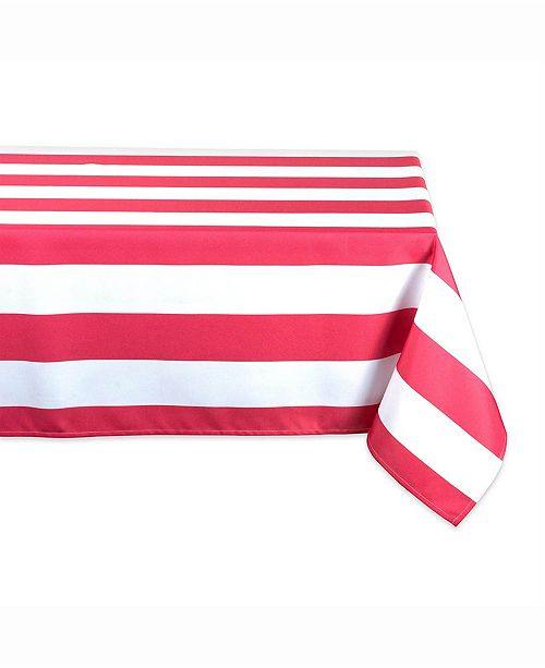 "Design Imports Coral Cabana Stripe Outdoor Table cloth 60"" X 84"""