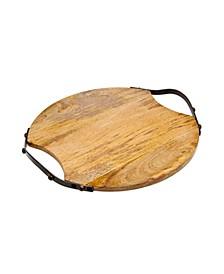 Round Wood Handeled Tray