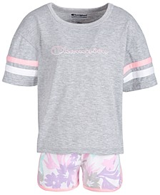 Little Girls 2-Pc. T-Shirt & Printed Shorts Set