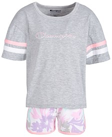 Champion Little Girls 2-Pc. T-Shirt & Printed Shorts Set