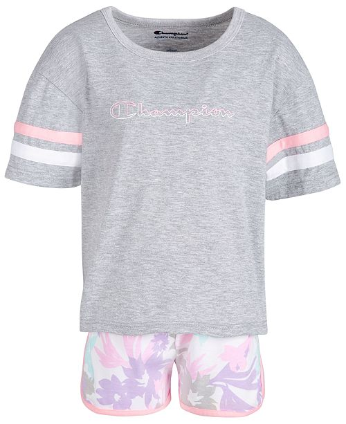 e66fc38fbfc3 Champion Little Girls 2-Pc. T-Shirt & Printed Shorts Set & Reviews ...