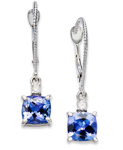 14k White Gold Earrings, Tanzanite (2-1/5 ct. t.w.) and Diamond Accent Cushion Earrings