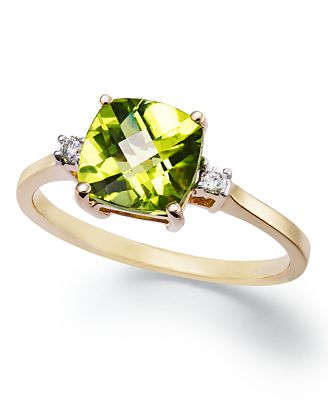 14k Gold Ring, Cushion-Cut Peridot (1-5/8 ct. t.w.) and Diamond Accent Ring