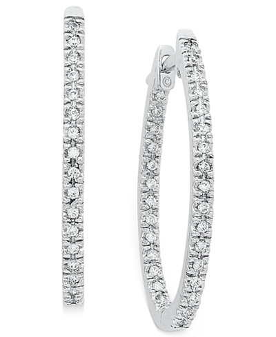 Diamond Oval In-and-Out Hoop Earrings in 14k White Gold (1/2 ct. t.w.)