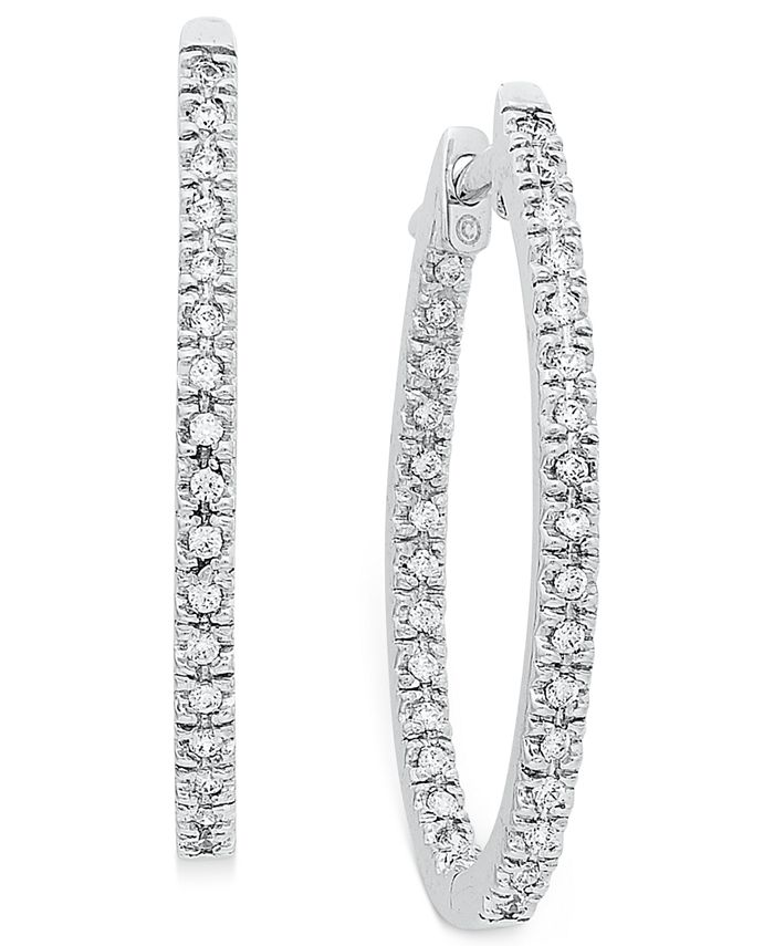 Macy's - Diamond Oval In-and-Out Hoop Earrings in 14k White Gold (1/2 ct. t.w.)