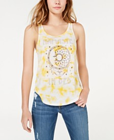 Freeze Juniors' Namaste In Bed Tie-Dye Tank Top
