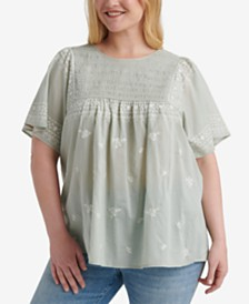 Lucky Brand Plus Size Cotton Embroidered Top