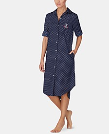 Roll-Sleeve Cotton Sleepshirt Nightgown