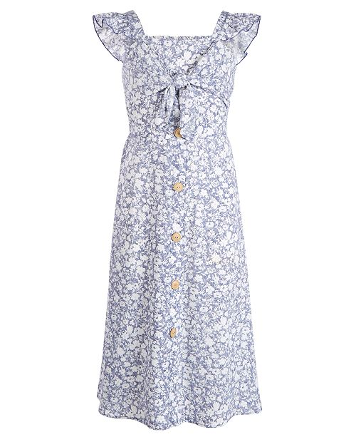 Beautees Big Girls Plus Button-Front Printed Maxi Dress