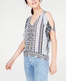 BCX Juniors' Split-Sleeve Printed Top