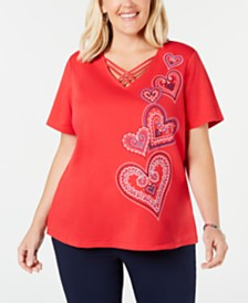 Alfred Dunner Plus Size In The Navy Embroidered Criss-Cross T-Shirt