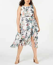 Plus Size Floral Printed Asymmetrical-Hem Dress