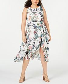 Plus Size Floral Printed Asymmetrical-Hem Dress