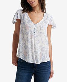 Lucky Brand Floral Smocked Flutter-Sleeve Top