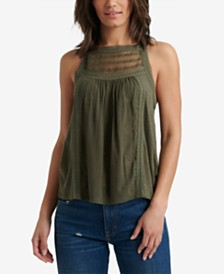 Lucky Brand Embroidered Mixed Media High Neck Halter Top