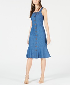 OAT Button-Front Flounce Denim Dress