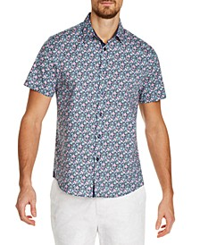Men's Slim-Fit Stretch Multi Floral Short Sleeve Shirt
