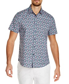 Tallia Men's Slim-Fit Stretch Multi Floral Short Sleeve Shirt