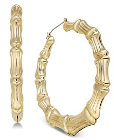 Thalia Sodi Gold-Tone Bamboo-Look Hoop Earrings, Created for Macy's